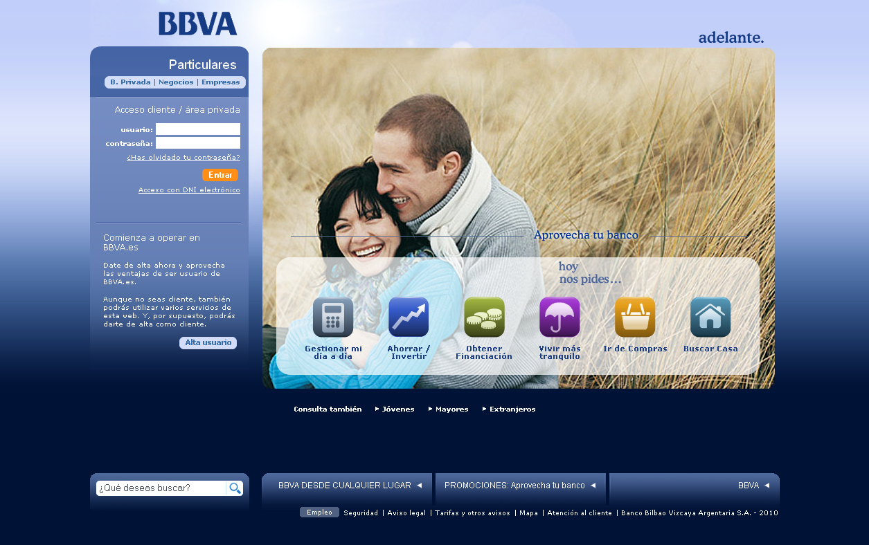 Captura de la home del BBVA