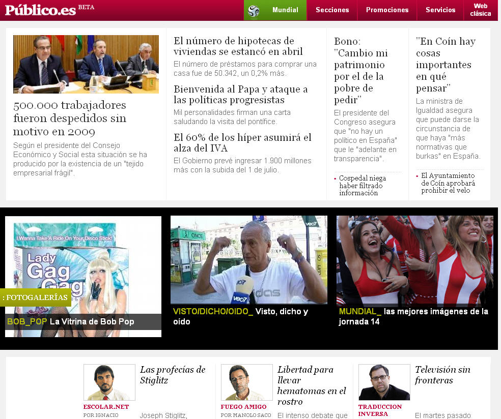Versión para el Ipad del diario español Público