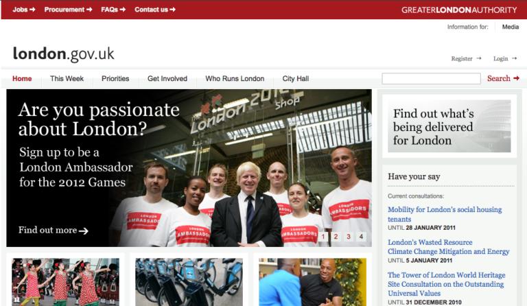 Portal del Ayuntamiento de Londres creado con Drupal
