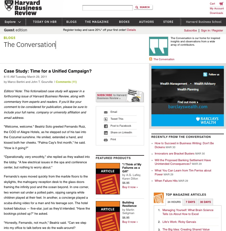 Harvard Business Review utiliza la recomendación para ofertar productos en su site