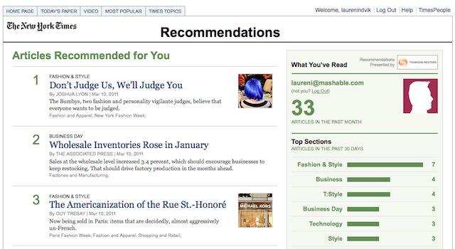 NYTimes incorpora recomendación en las páginas de su portal