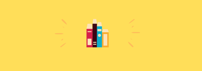 Ilustración de cuatro libros colocados en vertical sobre fondo amarillo