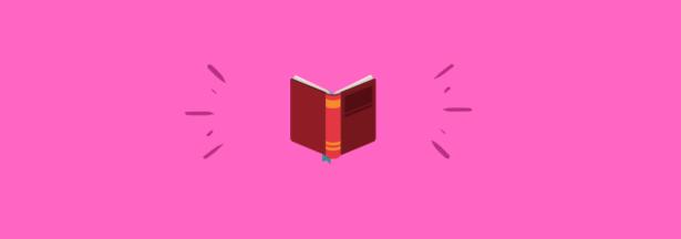 Ilustración con fondo fucsia y en el centro la parte trasera de un libro abierto